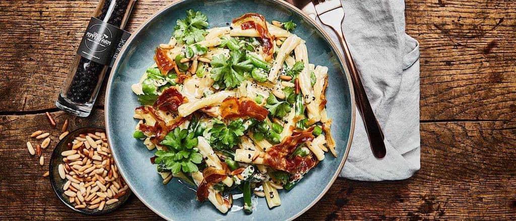 Pancetta-Nudeln mit Bohnen und Mascarpone