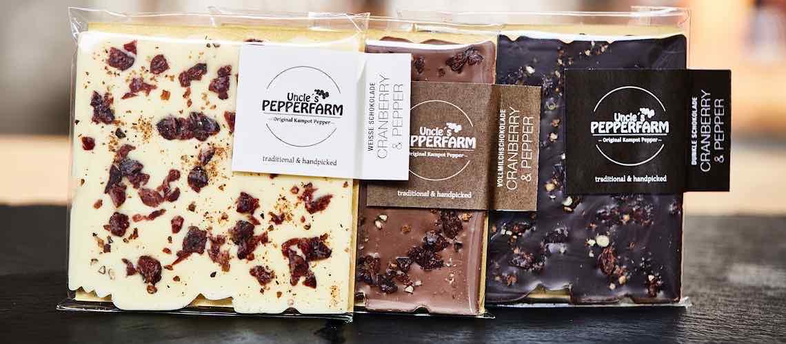 Schokolade mit Pfeffer und Cranberry