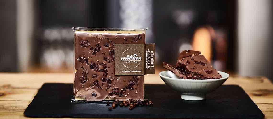 Handgemachte Schokolade serviert