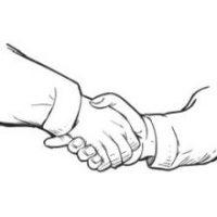 Skizze von zwei sich schüttelnden Händen
