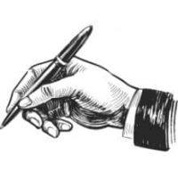 Skizze von einer schreibenden Hand